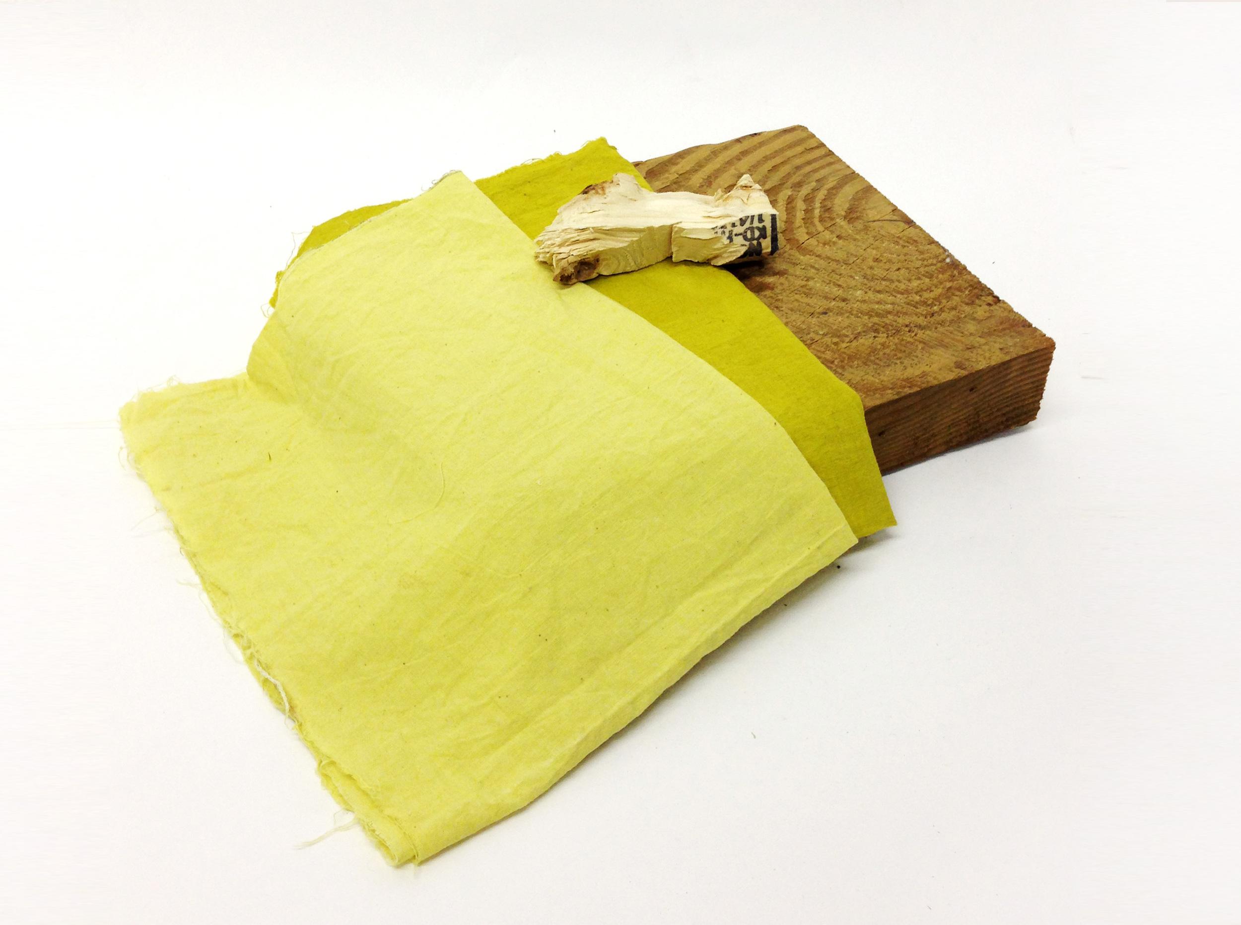 "FLORA   marigold dyed cotton, pine 18"" x 16"" x 3.5"" 2014"