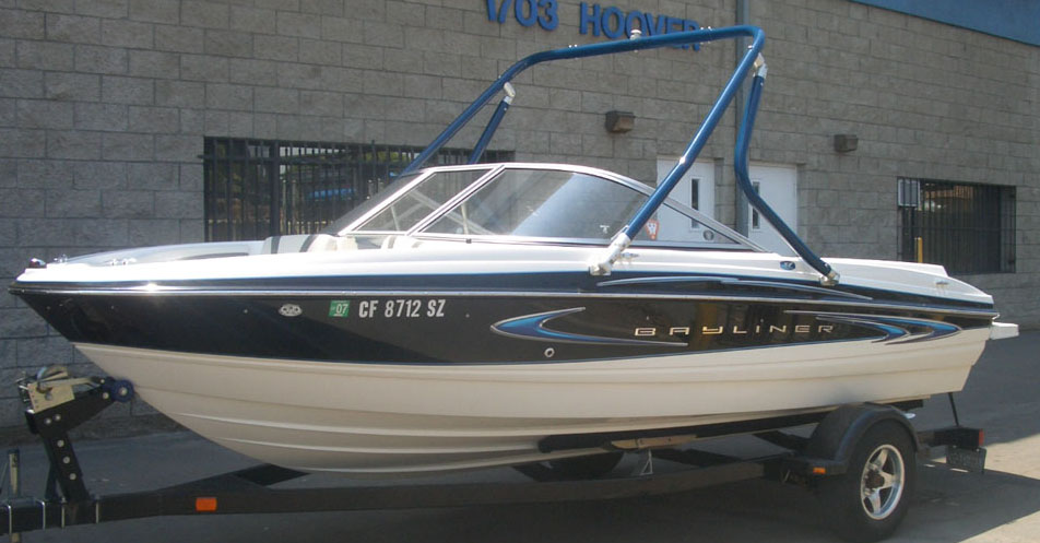 Wakeboard tower on a 2006 Bayliner 205