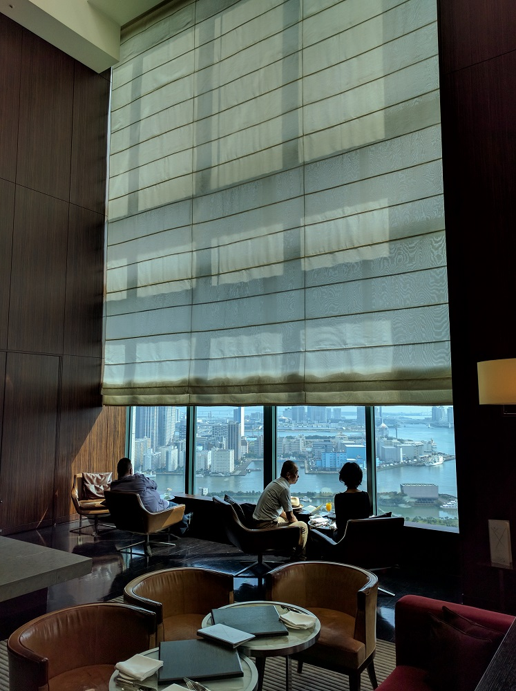 Breakfast in the lobby restaurant of the Conrad Toyko, overlooking Tokyo Bay