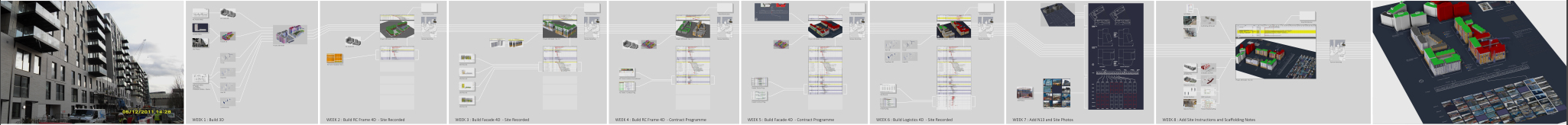 DETAILED WORK PROCESS MAP SHOWING 2D INFORMATION AND DOCUMENTS USED TO CREATE THE 4D MODEL