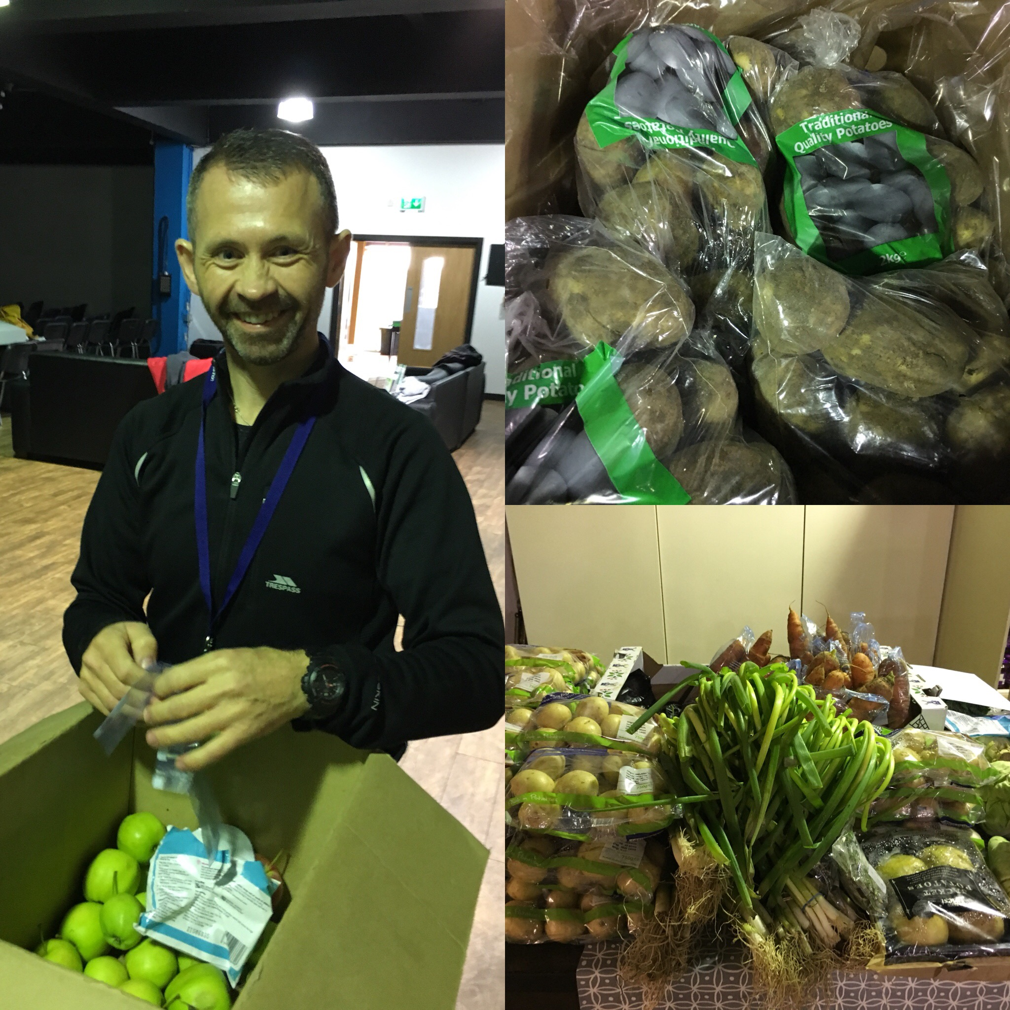 REACH - Foodbank volunteer preparing fresh fruit and vegetables for our guests on a Thursday morning.