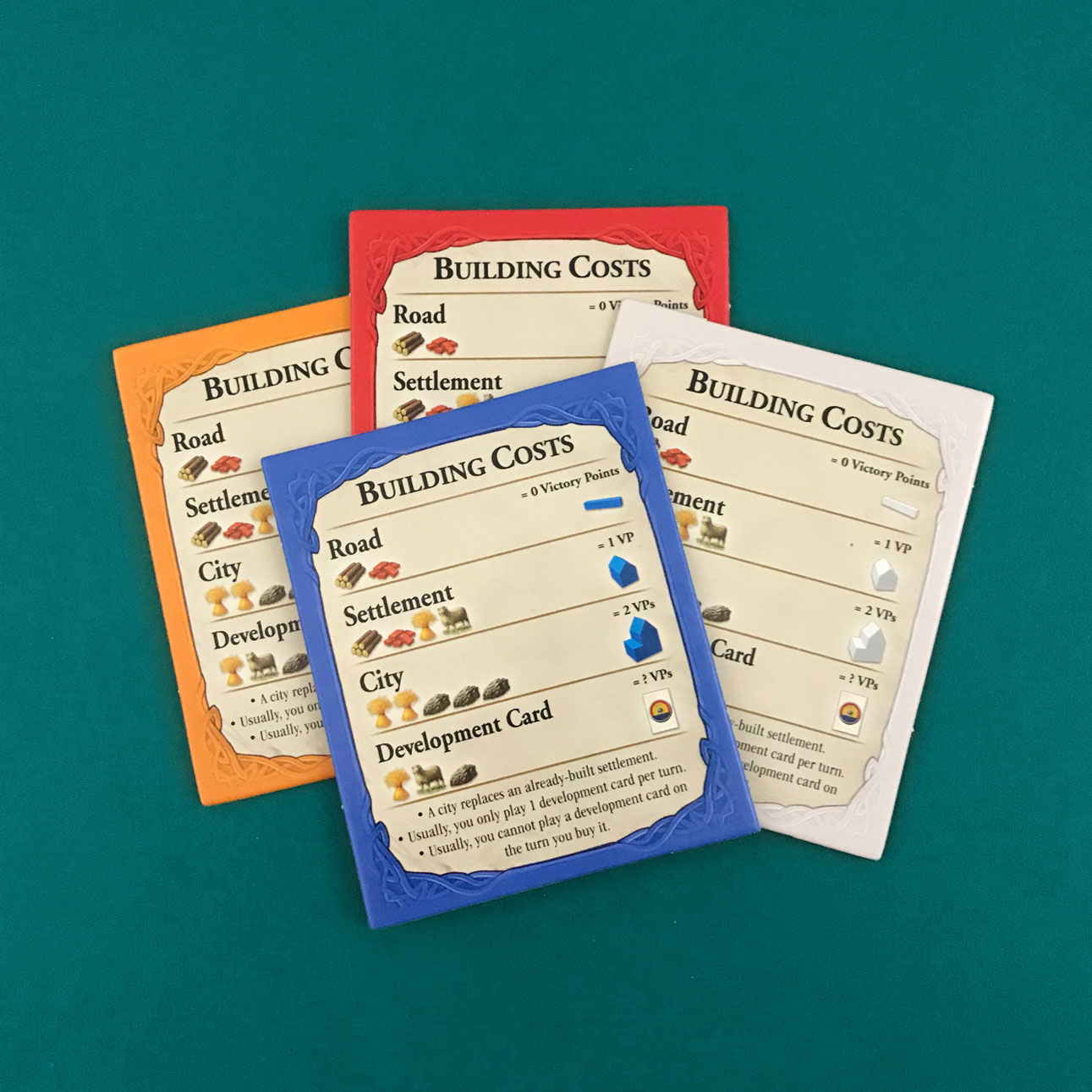 settlers of catan building cost reference cards
