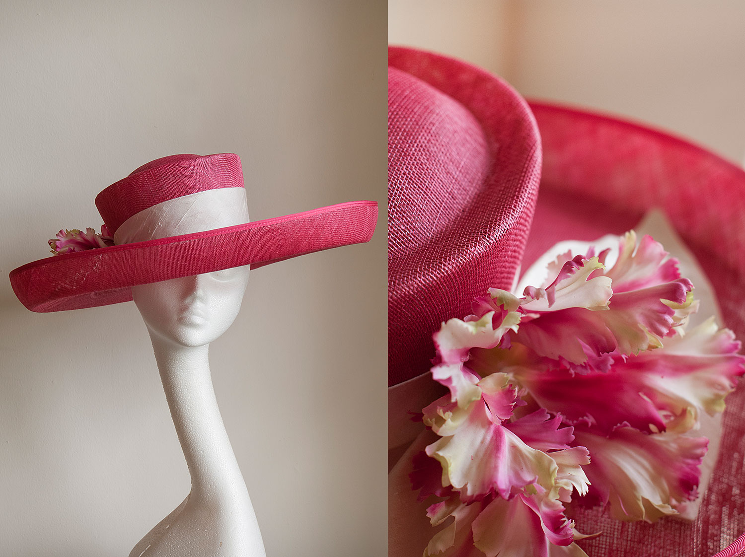 Tulip  - Large pink sinamay upturned brim with ivory silk band and tulips