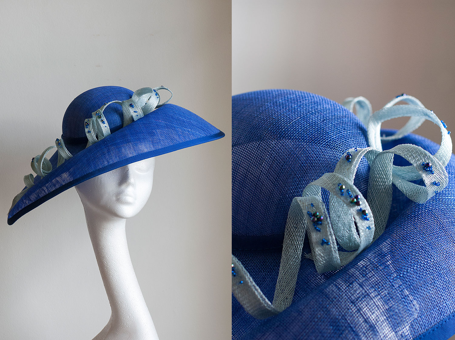 Vivienne  - Side sweep hat with hand beaded coils