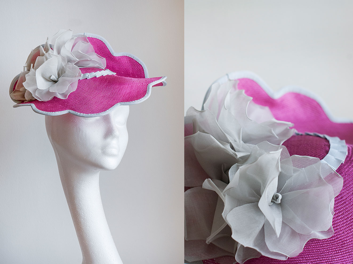 Lesley  - Scalloped pink hat with handmade organdy roses