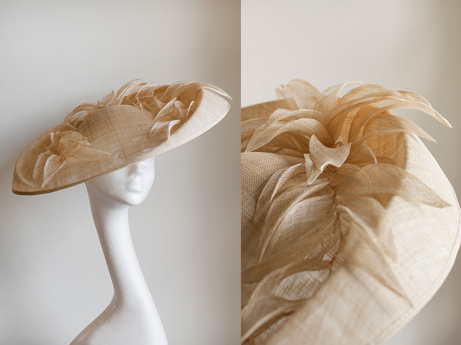 Cleopatra  - Large hat with pinok leaf detail