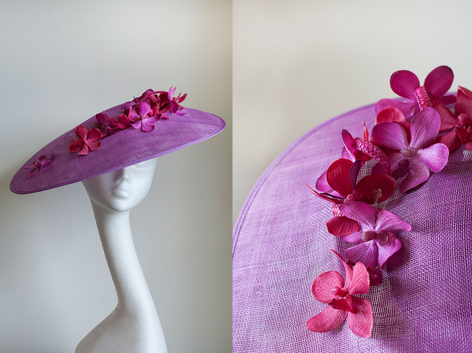 Diana  - Side sweep hat with trailing orchids