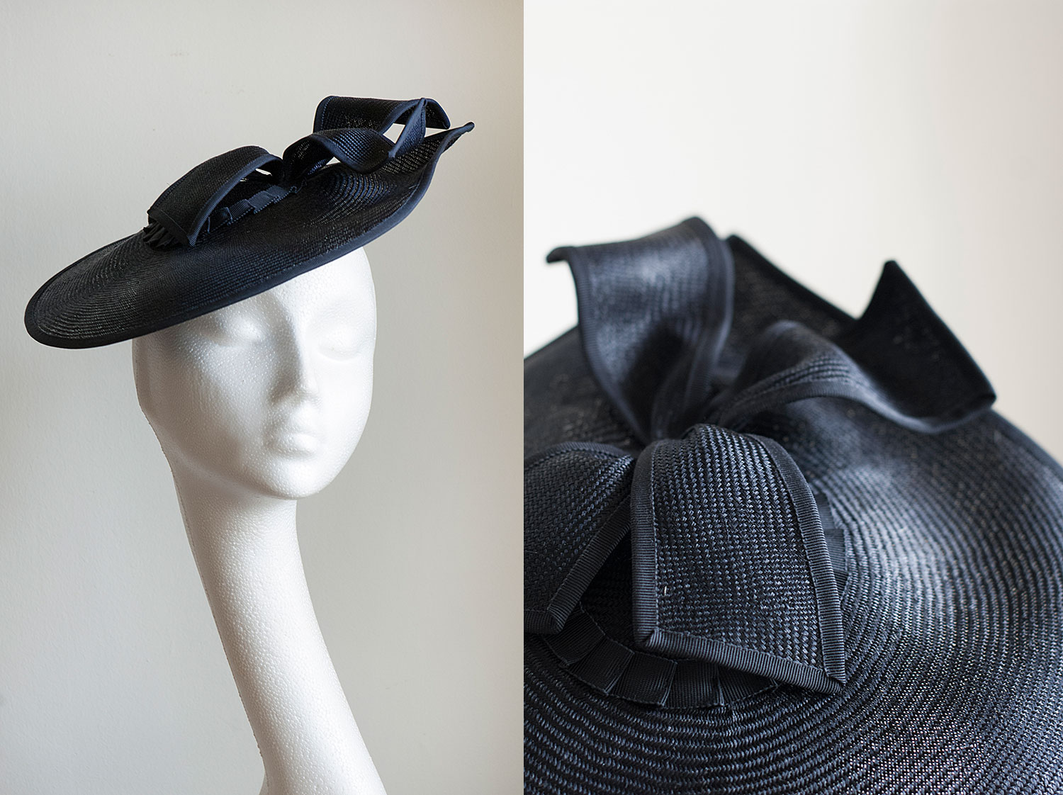 Kate  - Navy upswept hat with tails