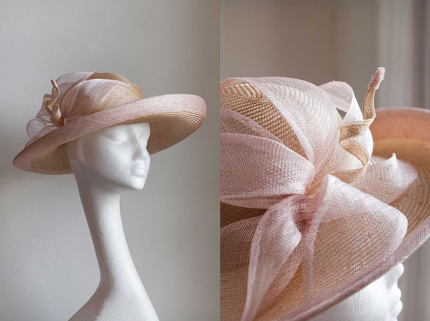 Anthea   - Beautiful natural parasisal upturned brim with pale pink bind and large pale pink flower