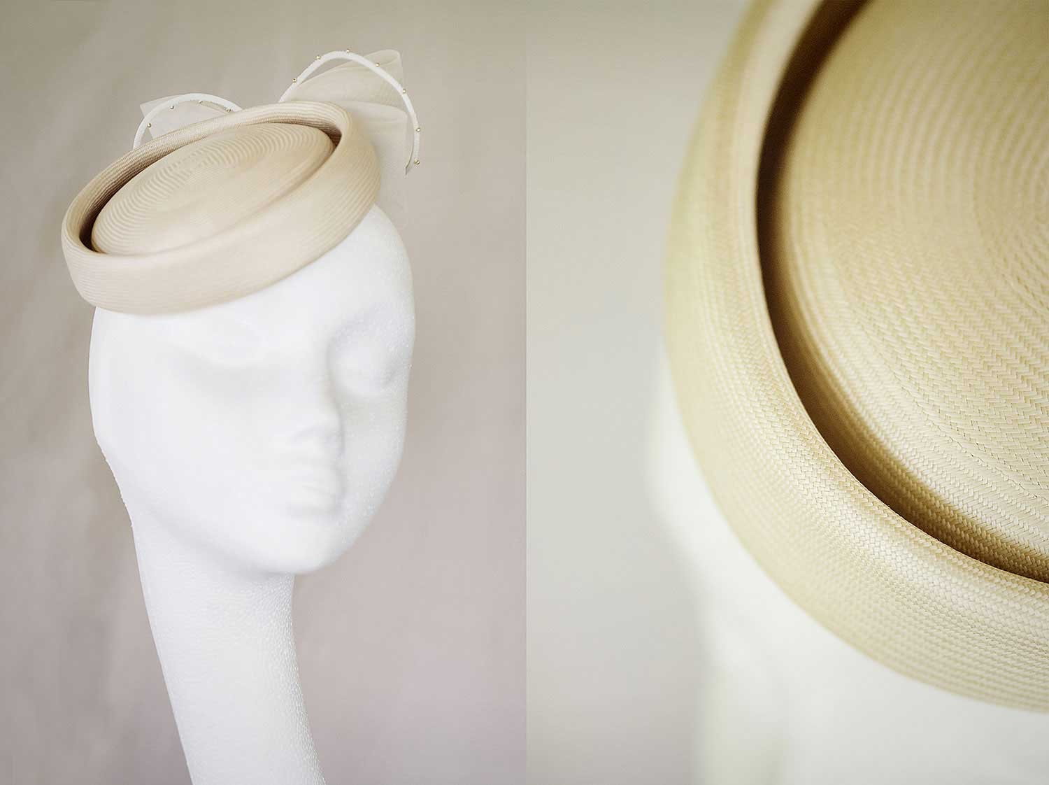 Irene  - Handmade and signed vintage panama straw pillbox with bow and bead detail.