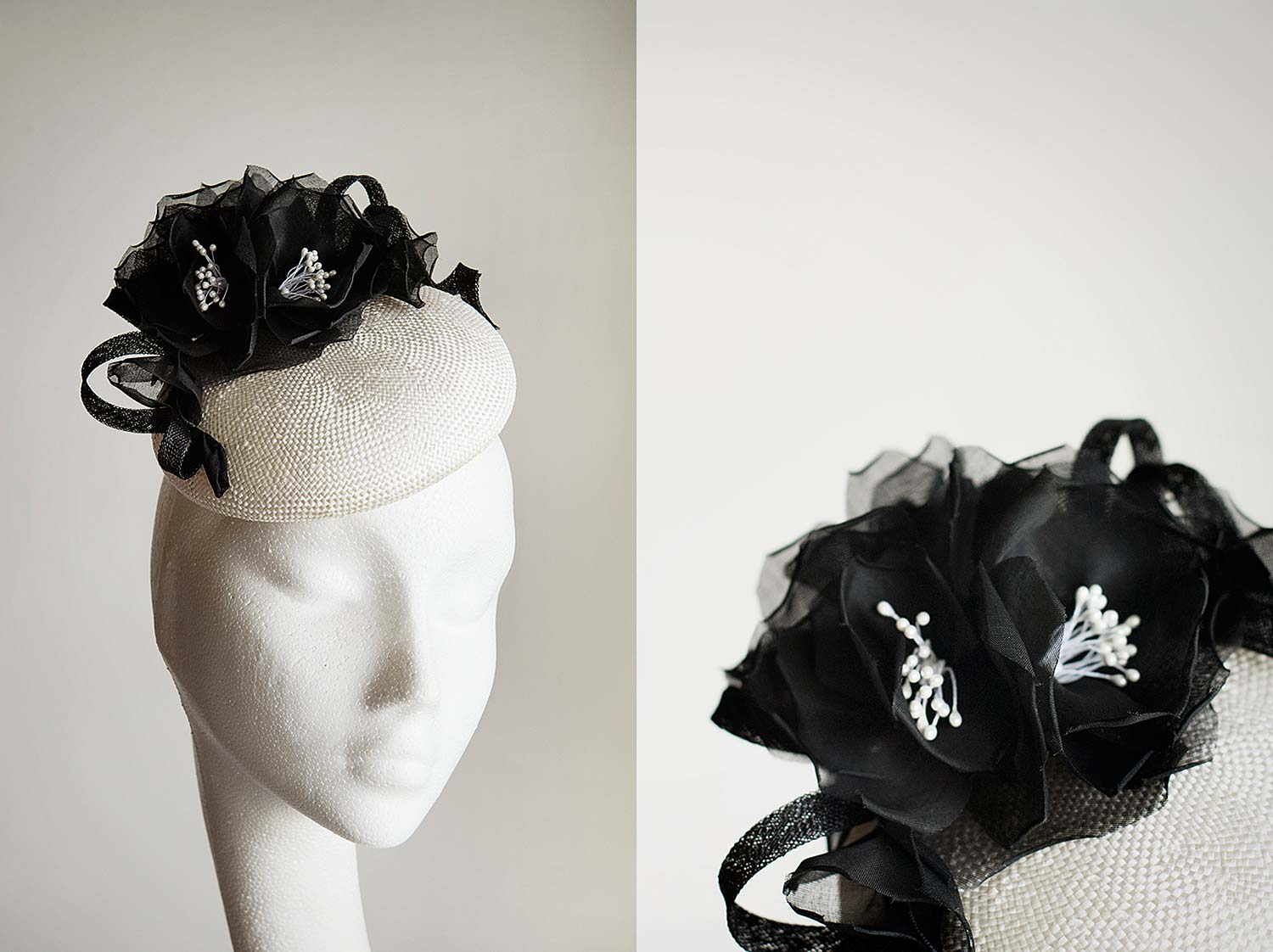 Leyla  -Ivory button with handmade black roses and coils