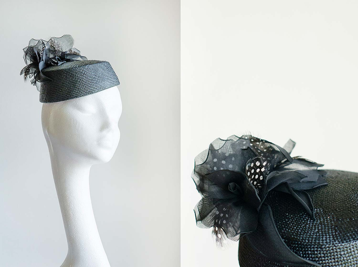 Jessica  - Black pill box with handmade feathered roses