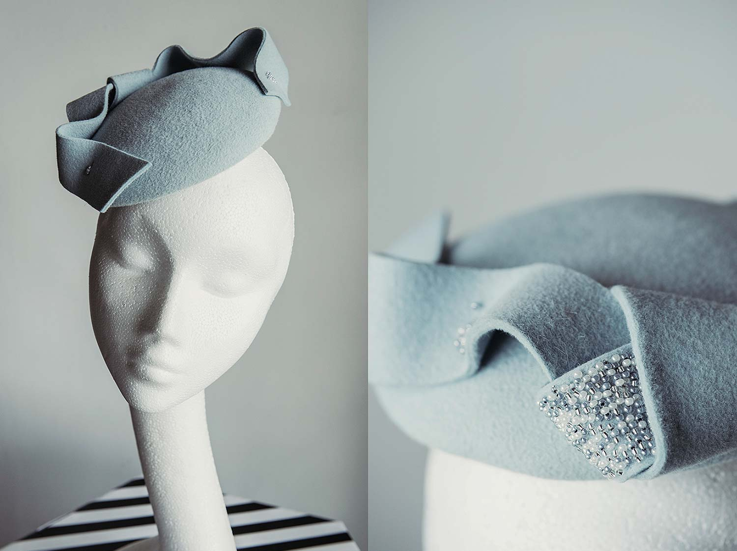 Eugenie  - Felt button with hand beaded bow and tails