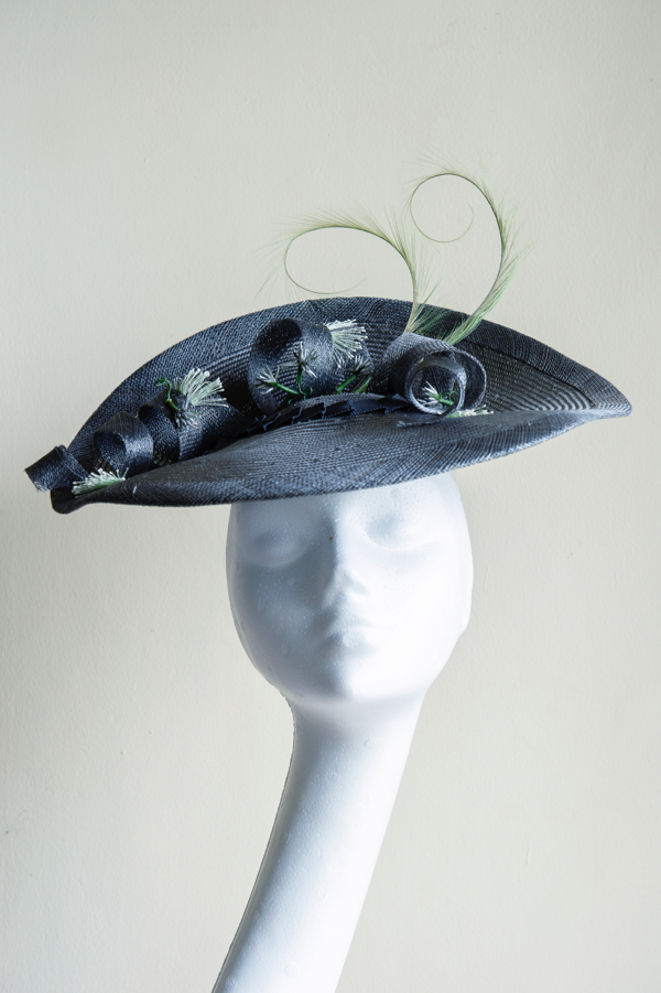 Grey straw cocktail hat   Grey and Green, a favourite colour combination. Grey straw hat with a sinamay curls, vintage handmade stamens and pheasant feather twirls. A large hat perfect for Ascot, weddings or garden parties. This hat is secured on the head with elastic.