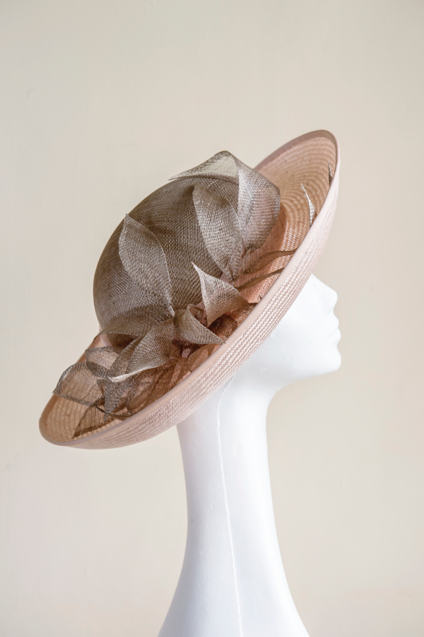 Pale pink straw and mink upturned brim hat   With handmade sinamay leaves. A classic hat, perfect for Ascot, a Mother of the Bride and garden parties. This hat sits towards the back of the crown and is made to a standard head fit of 22.5""