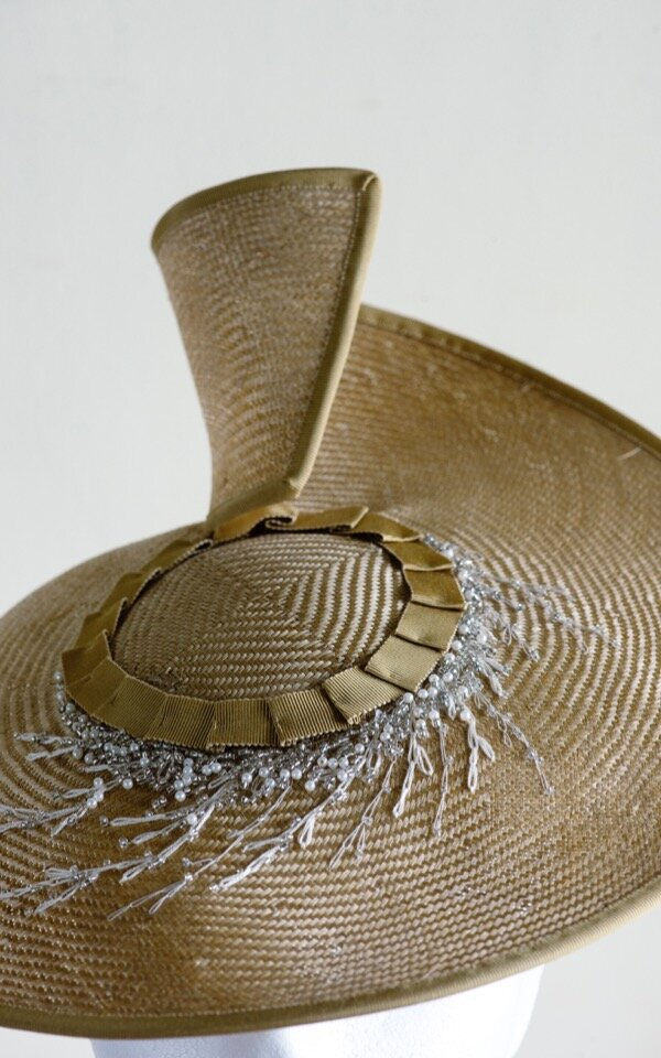 Embroidery detail on a SS19 hat