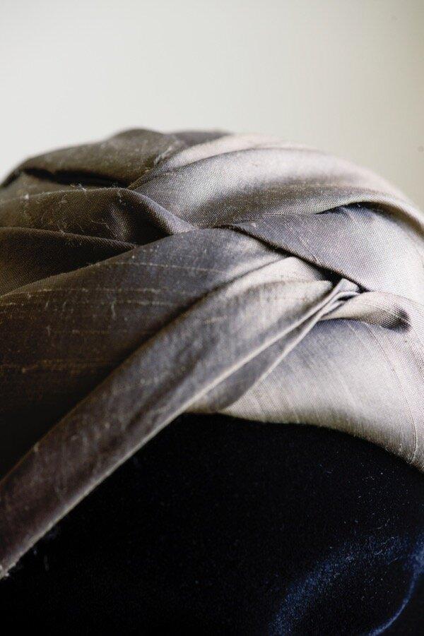 Raw silk hand draped turban Copy.jpg