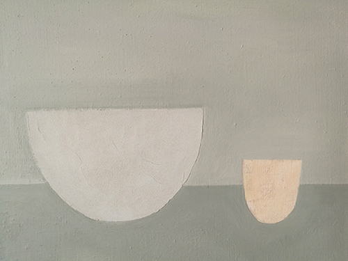 Bowl and nude cup, No 3  acrylic on linen canvas, 36x46cm, framed 39x49 cm  ( sold )