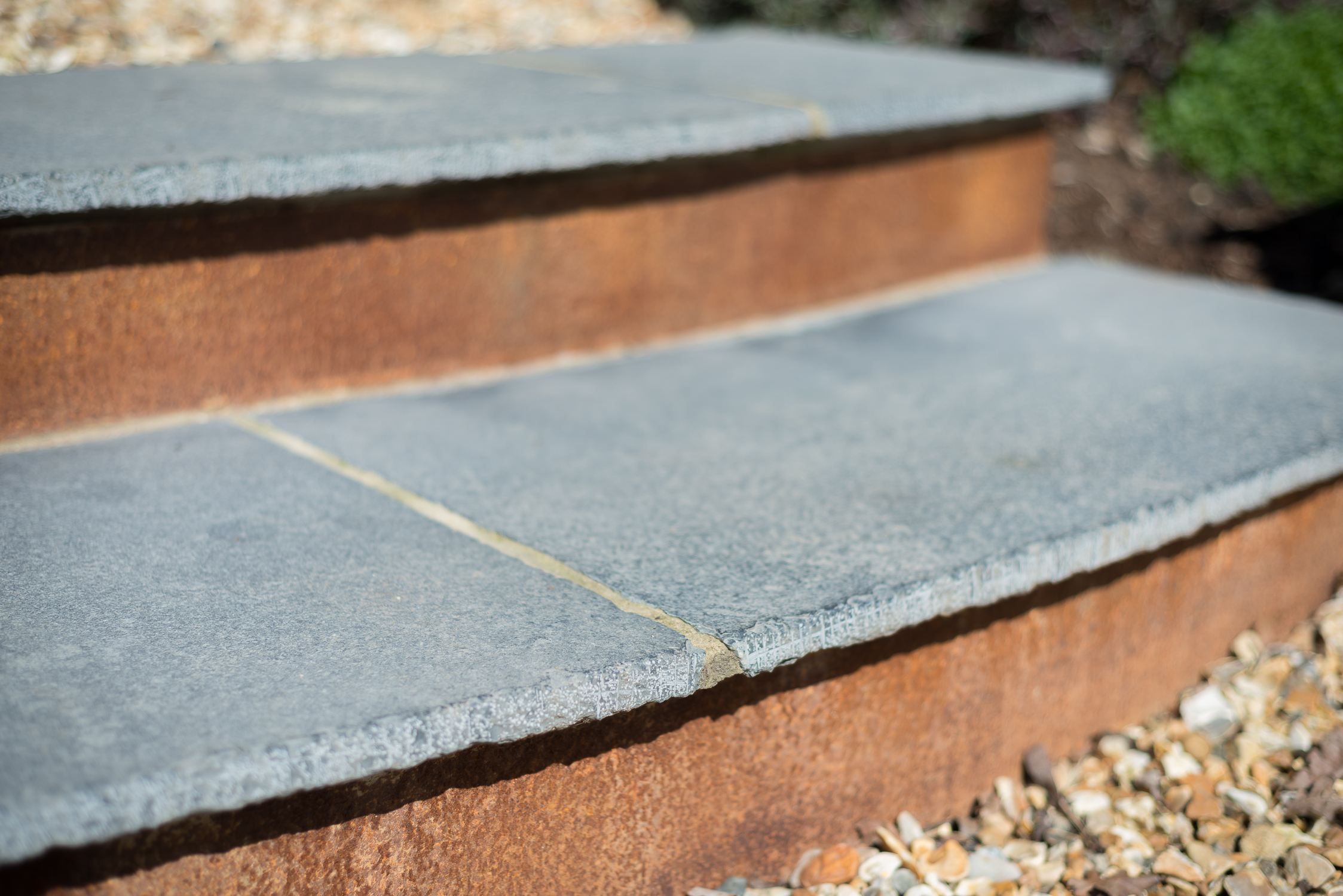 Indian Slab Stone and Rusted Steel Steps - www.jolliffdevelopments.com