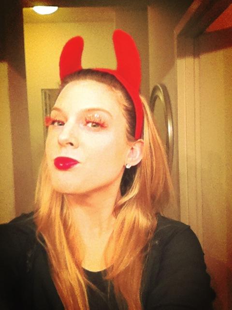 Cheeky devil red-hot falsies.
