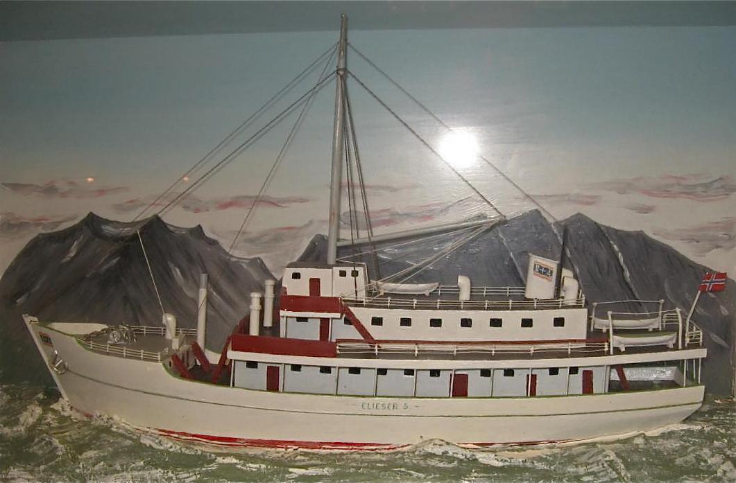 """Dette måleriet er av betelskipet """"Elieser"""", og slik mange hugsar det. I dag er båten mindre, og langt meir moderne. Søndag var skipet på besøk i Uskedalen.   Les meir  her"""