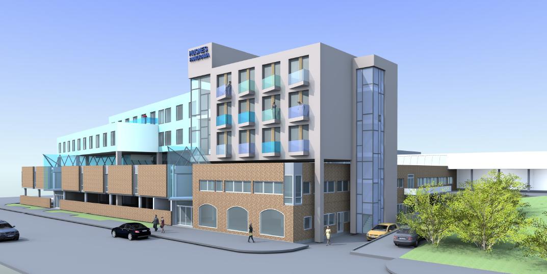 Mosvold-gruppa fekk laga denne teikningen av eit nytt hotell på Husnes i fjor. Men Jan B. Ingvaldsen understekar at det finst fleire andre potensielle tomte-alternativ på Husnes.