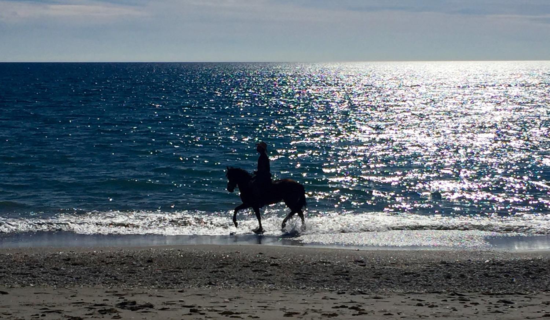 Ridetur langs stranda i Nerja, medan sola sender dei siste livgjevande strålene sine utover Middelhavet.