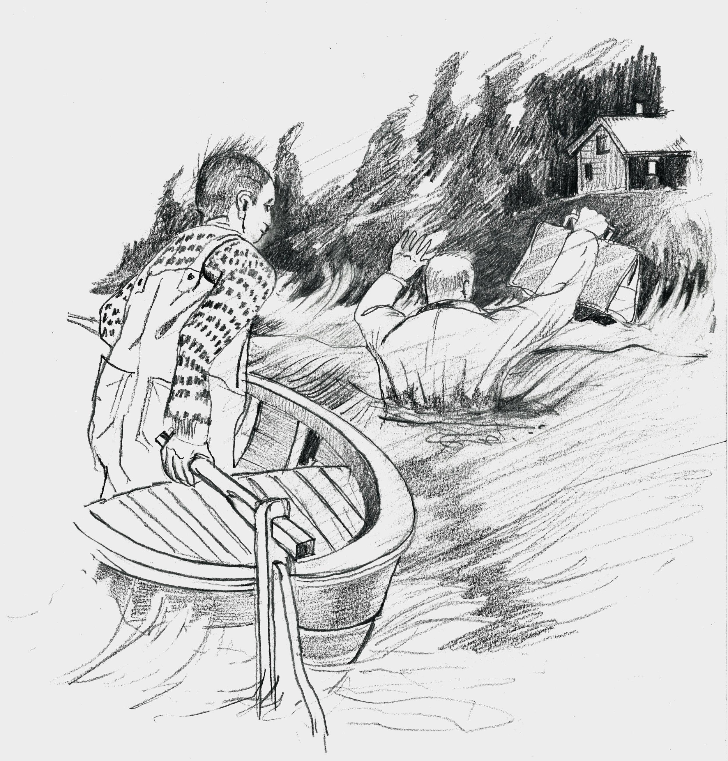Dokter Haugen hoppa på sjøen og vassa i land fleire gonger då han var ute på sjukebesøk. (Teikning: Ole Bjarte Røssland).