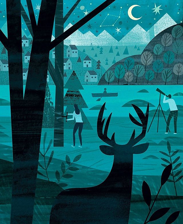 What is our relationship with nature? Illustration for @umncla 150th Anniversary Magazine. 🦌🌳🏔💫 . . . #illustration #illo #collage #digital #mixedmedia #blockprint #editorial #nature #environment #landscape #deer #stars #DanteTerzigni