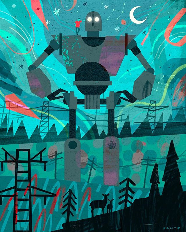 """The Iron Giant"" is my contribution to a superhero-themed group show dedicated to a real life superhero, Brent Cottrell, who recently lost his battle to cancer. Prints available. Please get in touch for more information. The show will be up September 9th - October 17th in the Irving Stone Gallery. All proceeds will go to cancer research.🤖✨⚡️ #endcancer #superhero #mixedmedia #illustration #art #collage #BrentCottrell #DanteTerzigni"