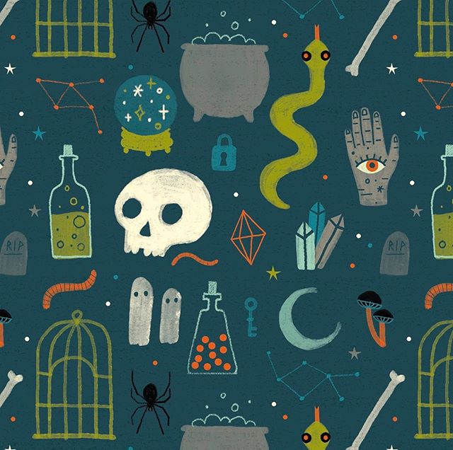 It's almost time! 🕷☠️🌙 spooky repeat for @amgreetings #halloween #design #illo #pattern #illustration #surfacedesign #repeatpattern