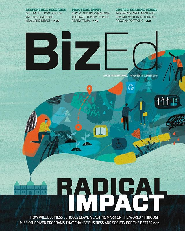 """Radical Impact"" How will business schools leave a lasting mark on the world? It was a pleasure to work with the folks @2communique to make this massive project come to life!  #cover #editorial #illustration #illo #business #education #impact #newera #research #DanteTerzigni"