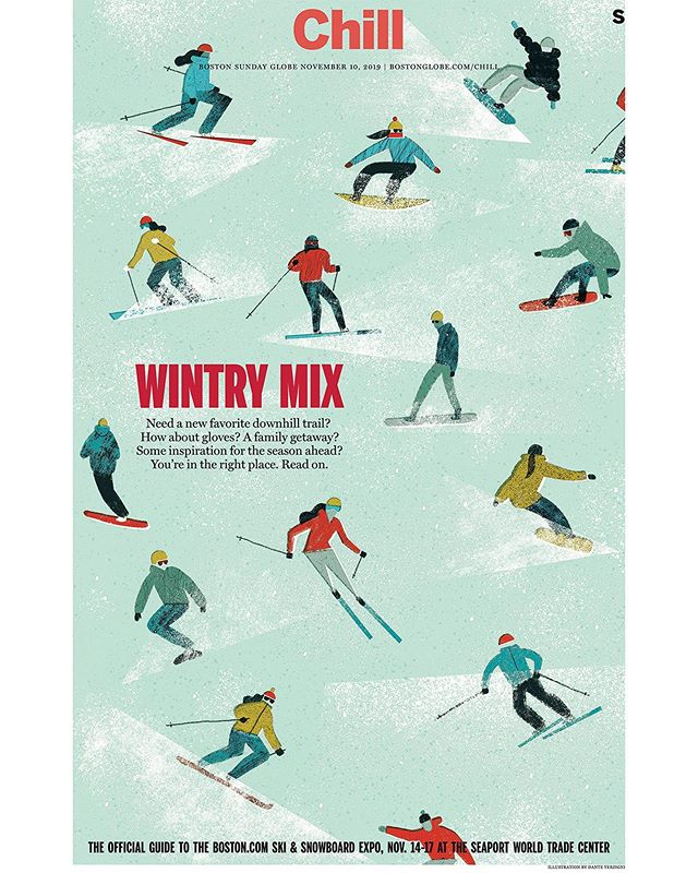 New one for the cover of the ski guide for this past Sundays @Bostonglobe. This was the first illustration I did start to finish on the iPad.  Thanks to @sarahrobbinsdraws for turning me onto these killer brushes in @procreate. This seemed like the perfect project to use them on! Swipe for process video. 🎿🏂🥶❄️ . . . #editorial #illustration #illo #print #winter #ski #snowboard #chill #process #timelapse #procreate #ipadpro #applepencil #DanteTerzigni