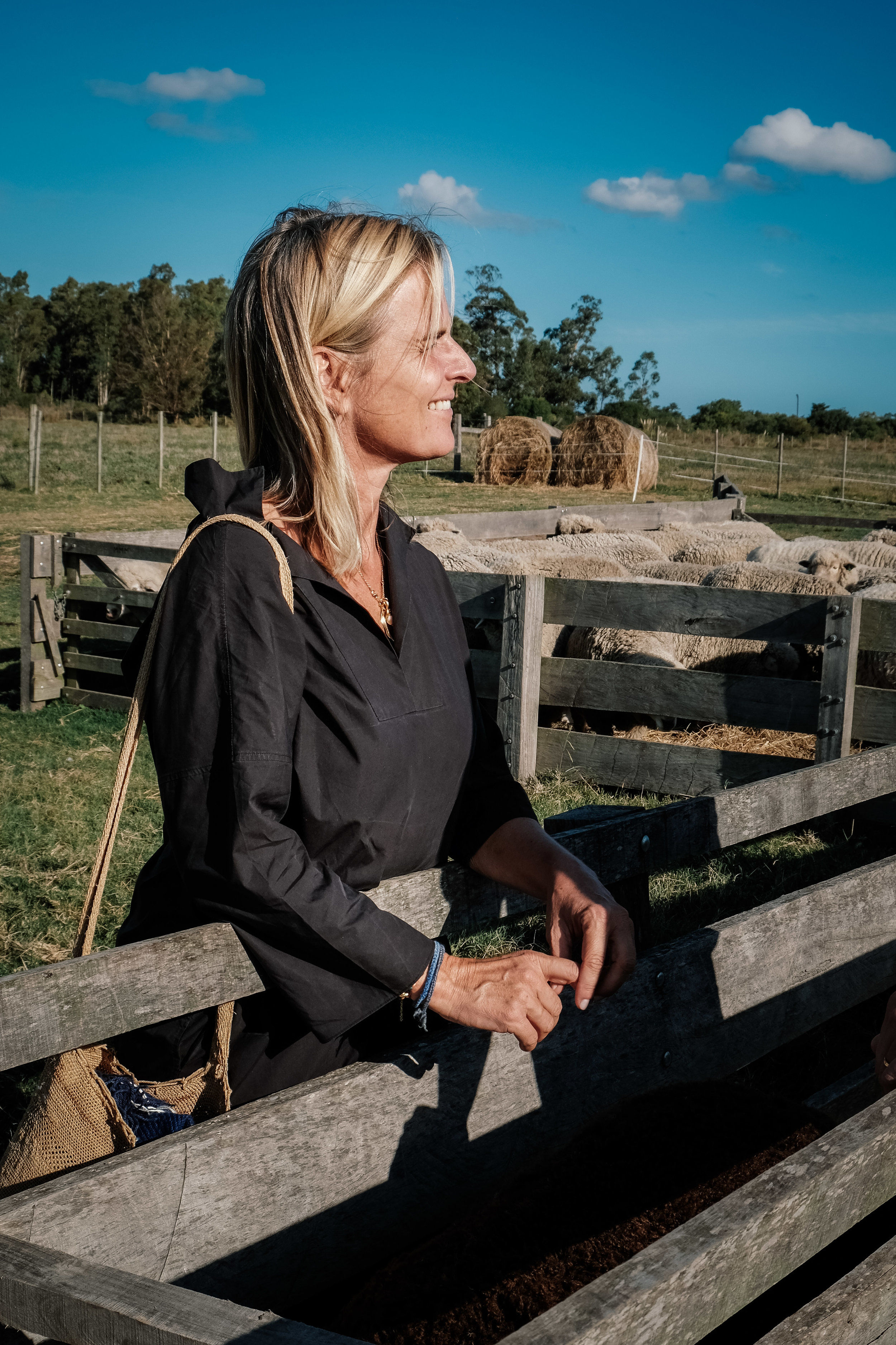 Gesine visiting one of the merino farms in Canelones department, Uruguay