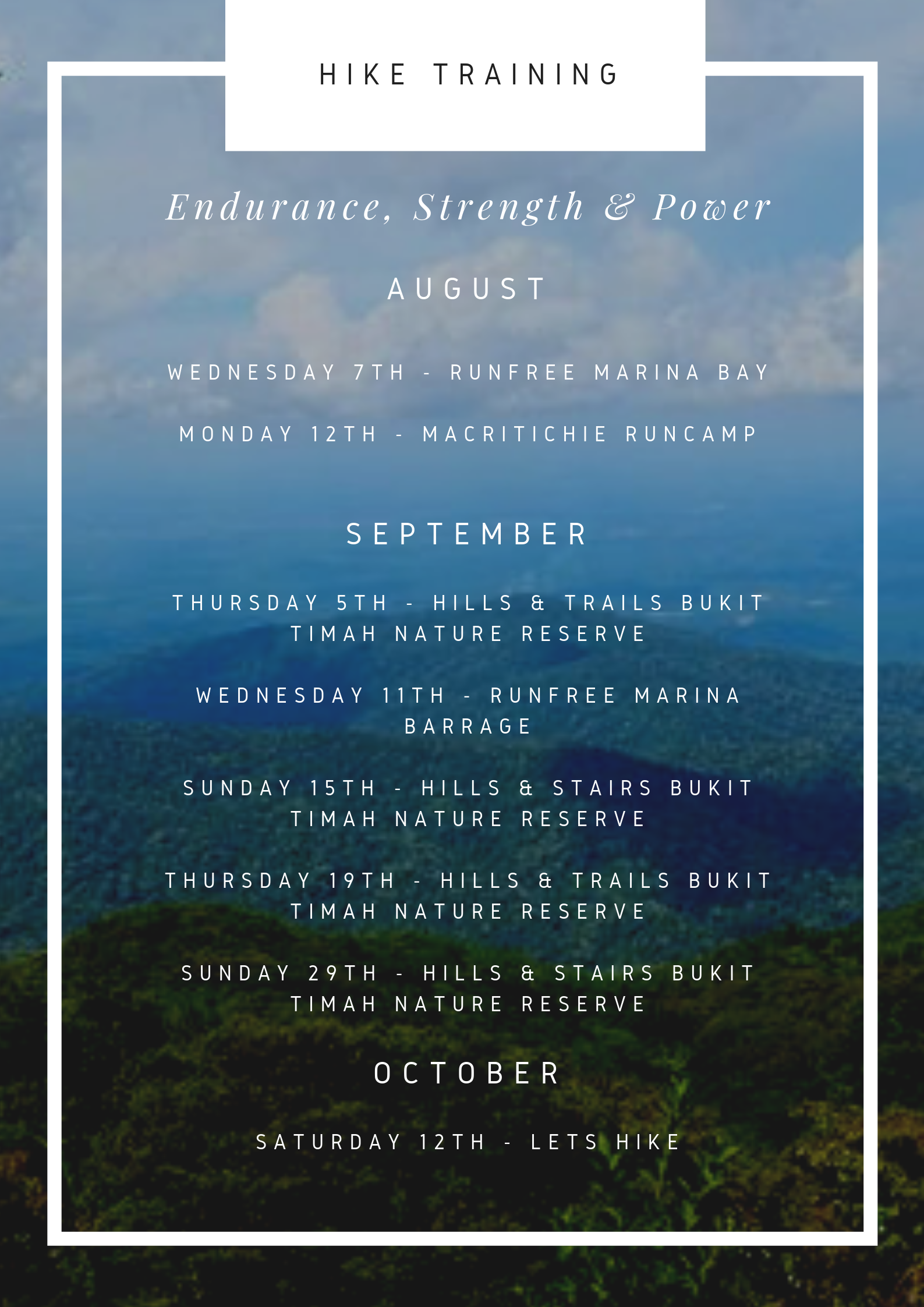 """On top of our """"USUAL SCHEDULE"""" we have added these hike specific classes. We believe there is no better way to prepare for a hike than by conditioning the body by climbing hills, stairs and by our all time favourite exercise RUNNING!  BOOK NOW"""