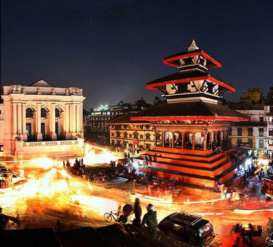 Basantapur Durbar Square at night.