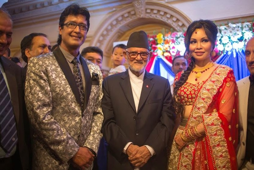 From left to right: Rajesh Hamal, PM Sushil Koirala, Madhu Bhattrai at Kailash Hall (Hotel Shanker, Kathmandu)