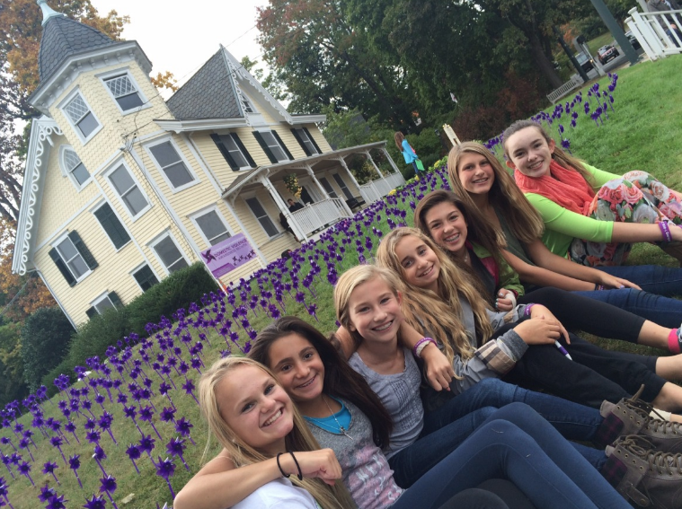Photo credit:  New Canaanite . Teens from The National Charity League volunteer to insert 1,000 pinwheels for Domestic Violence Awareness.