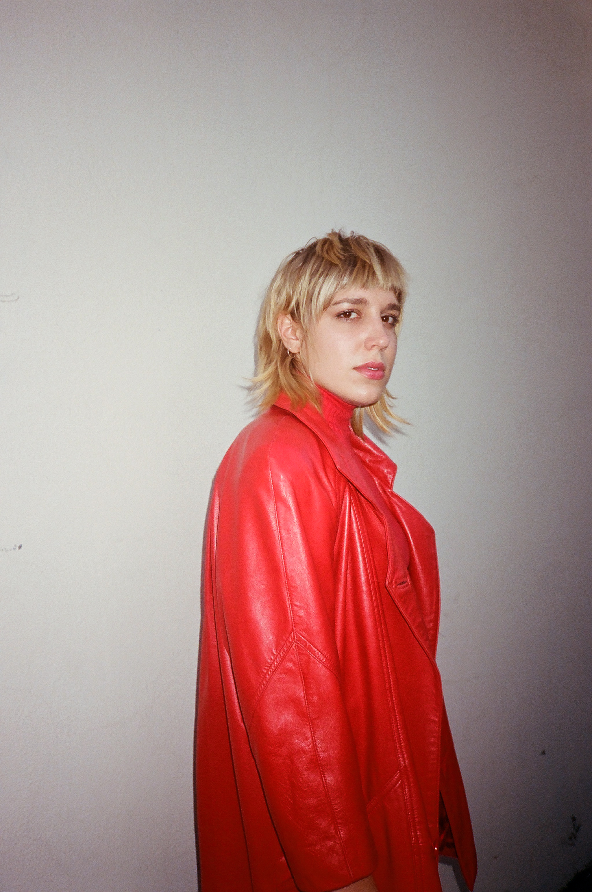 Abby wears  Vintage Debby's Red Leather Jacket .