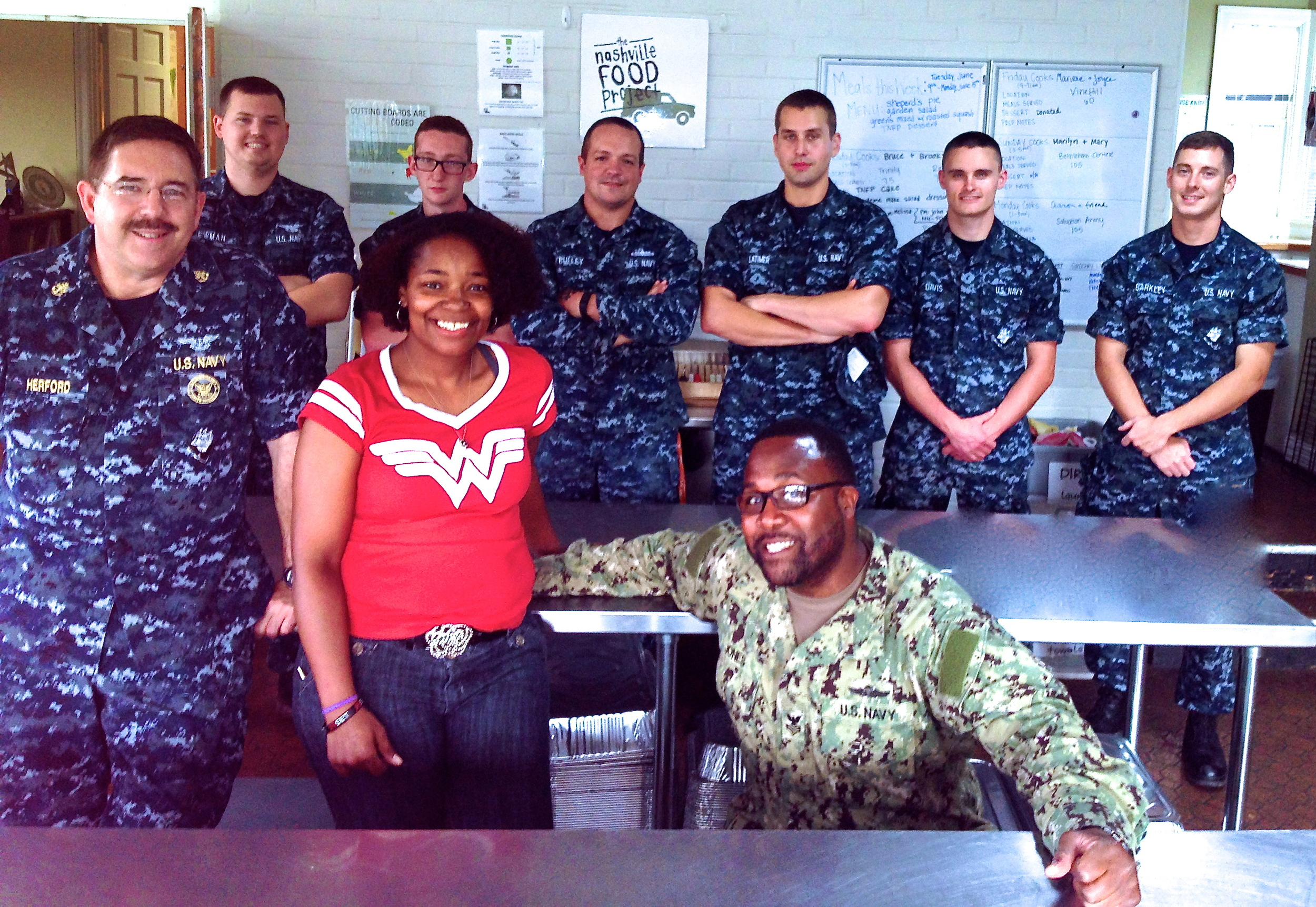 Makisha with volunteers from Navy Operational Support Center (NOSC), a component facility of the  Navy Reserve  Center.