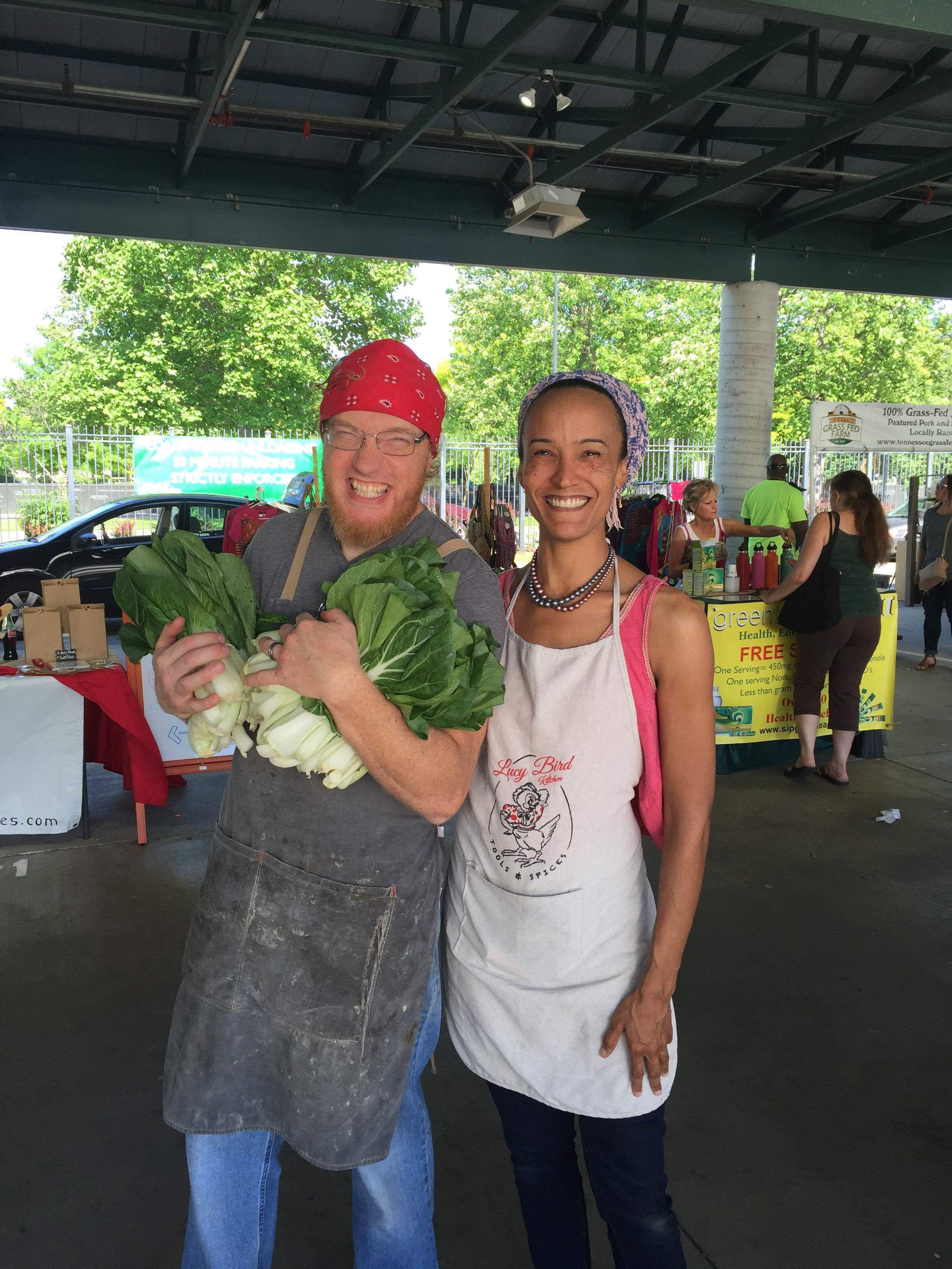 Chef Sam with our farm shed neighbor Victoria of  Lucy Bird Kitchen .