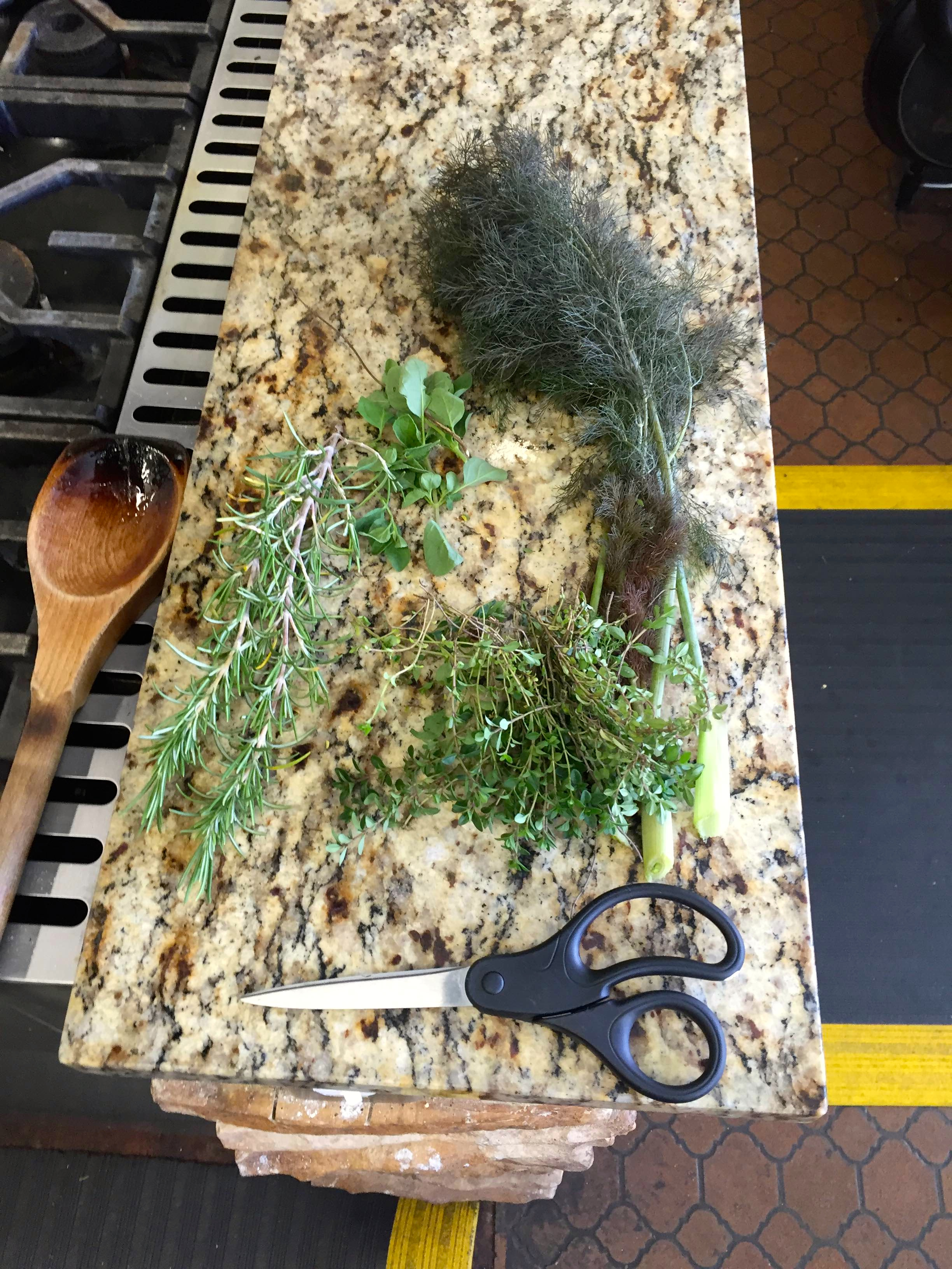 Herbs pulled from TNFP's kitchen garden will go into the dish.