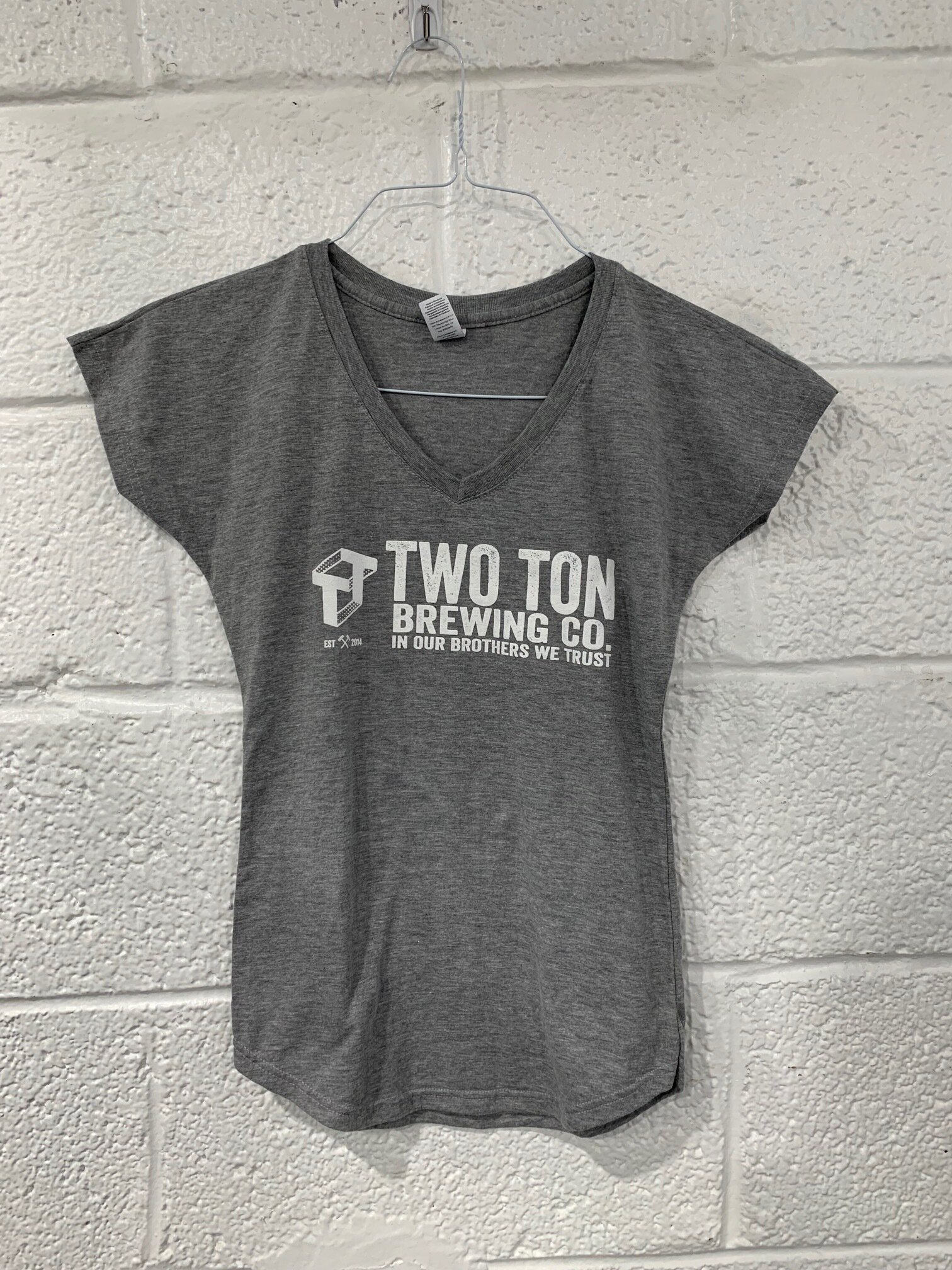 Two Ton V-Neck Logo T-shirt   $ 15.00   Unisex, white logo on heather gray T-shirt.  Multiple sizes available.
