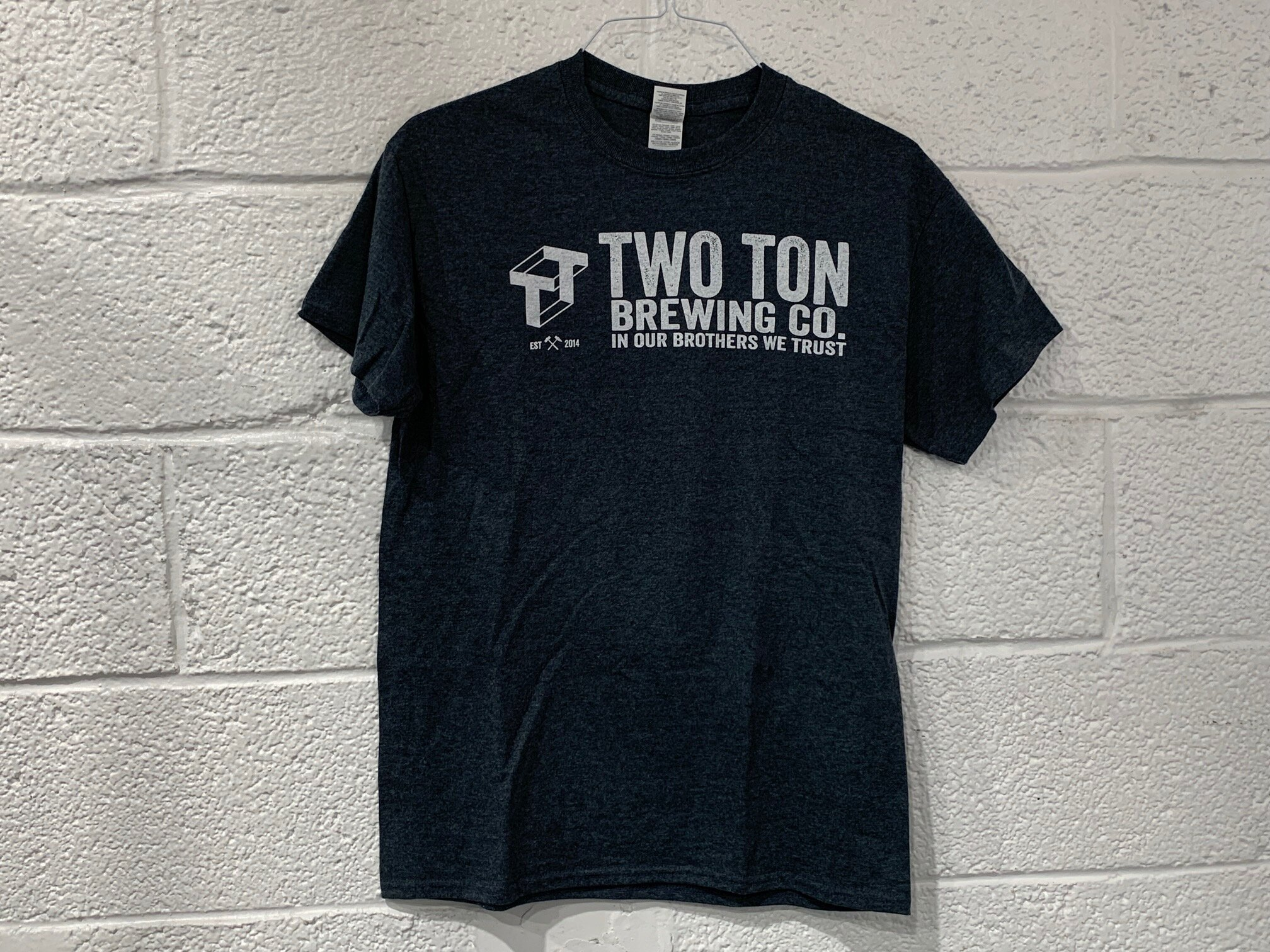 Two Ton Logo T-shirt   $ 15.00   Dark blue heather T-shirt with white logo. Unisex.  Multiple sizes available.
