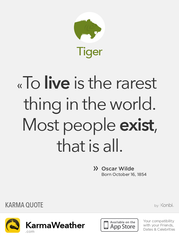 Chinese Zodiac Quotes: Tiger #OscarWilde