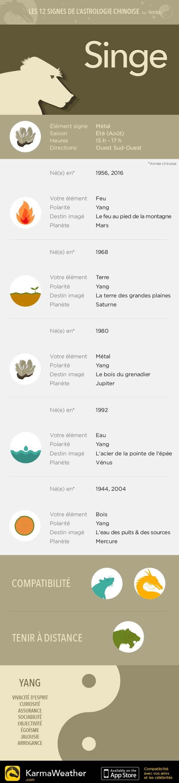 Les 12 signes astrologiques du zodiaque chinois : le Singe