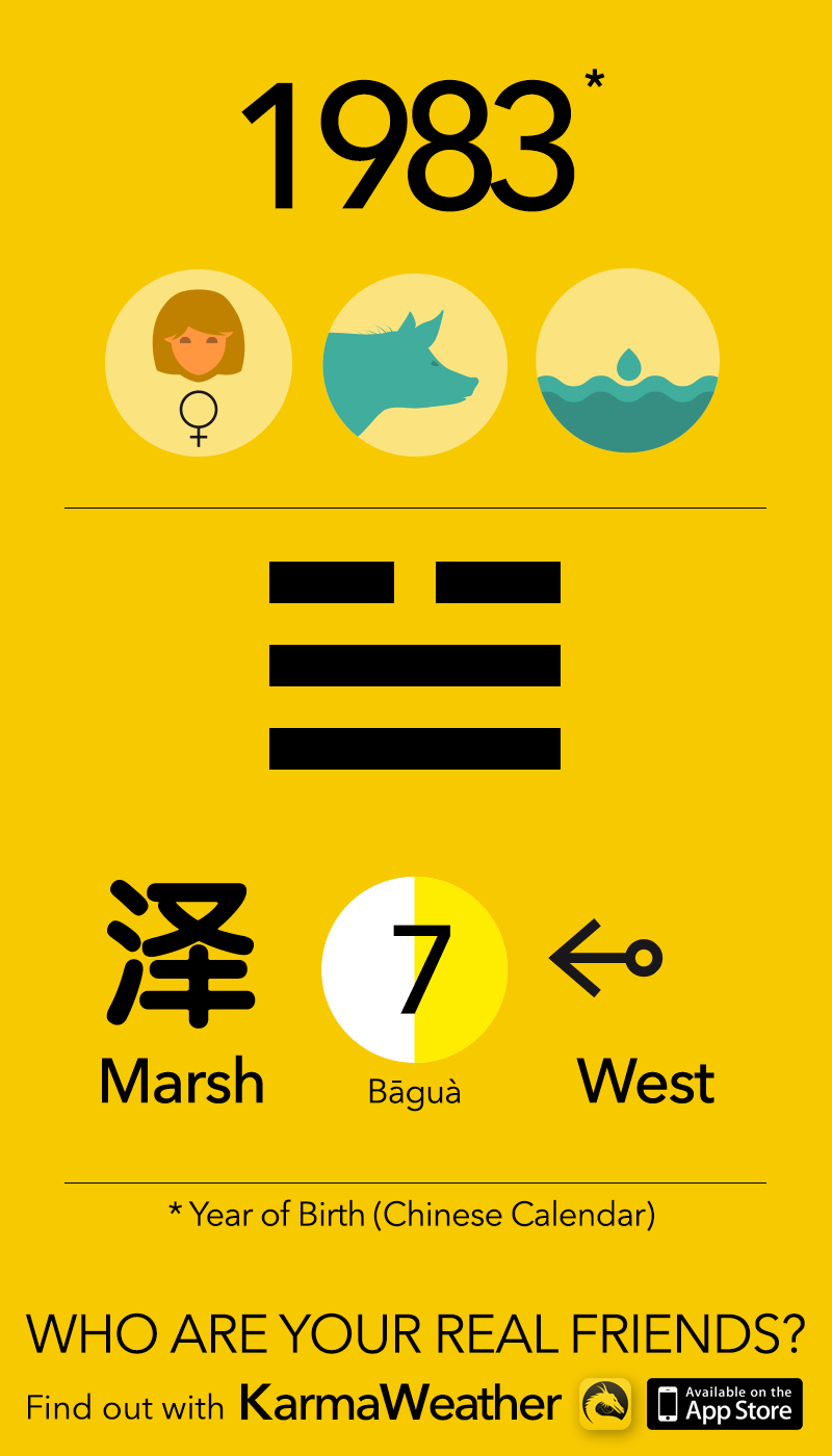 Feng Shui BaGua basics for women born in 1983, by KarmaWeather #Pig