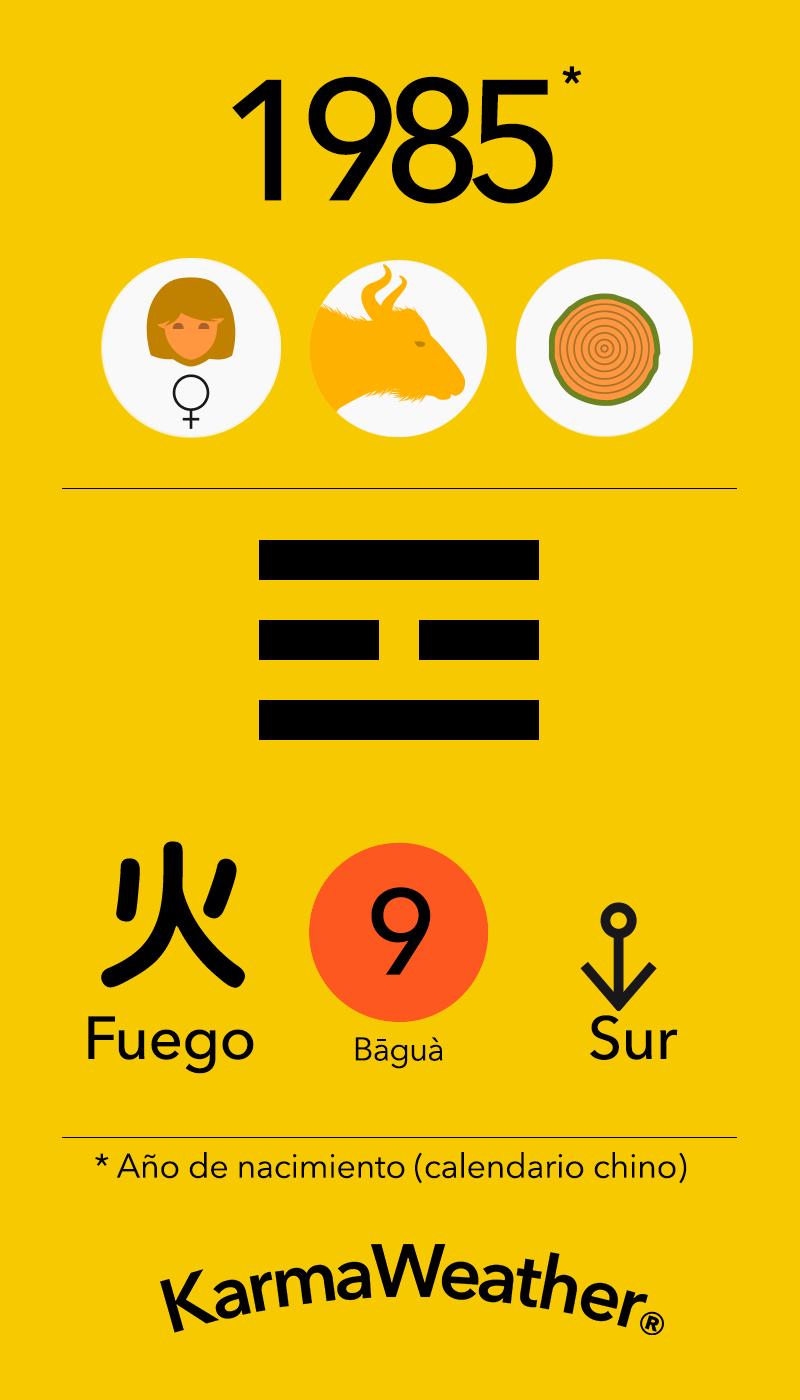 Fundamentos de Feng Shui BaGua para mujeres nacidas en 1985 por KarmaWeather #Bufalo