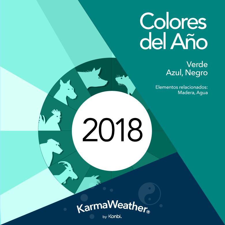 Colores del año 2018 según el Feng Shui y el horóscopo chino:  verde ,  azul ,  negro