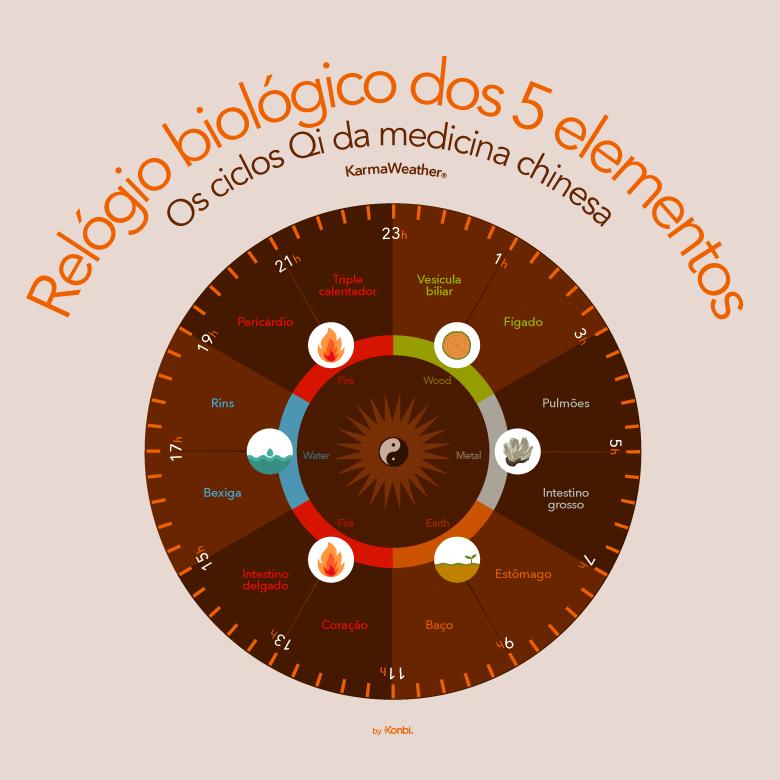 Os ciclos Qi da medicina tradicional chinesa  - o relógio biológico dos cinco elementos da cosmologia chinesa (WuXing): Madeira, Fogo, Terra, Metal, Água